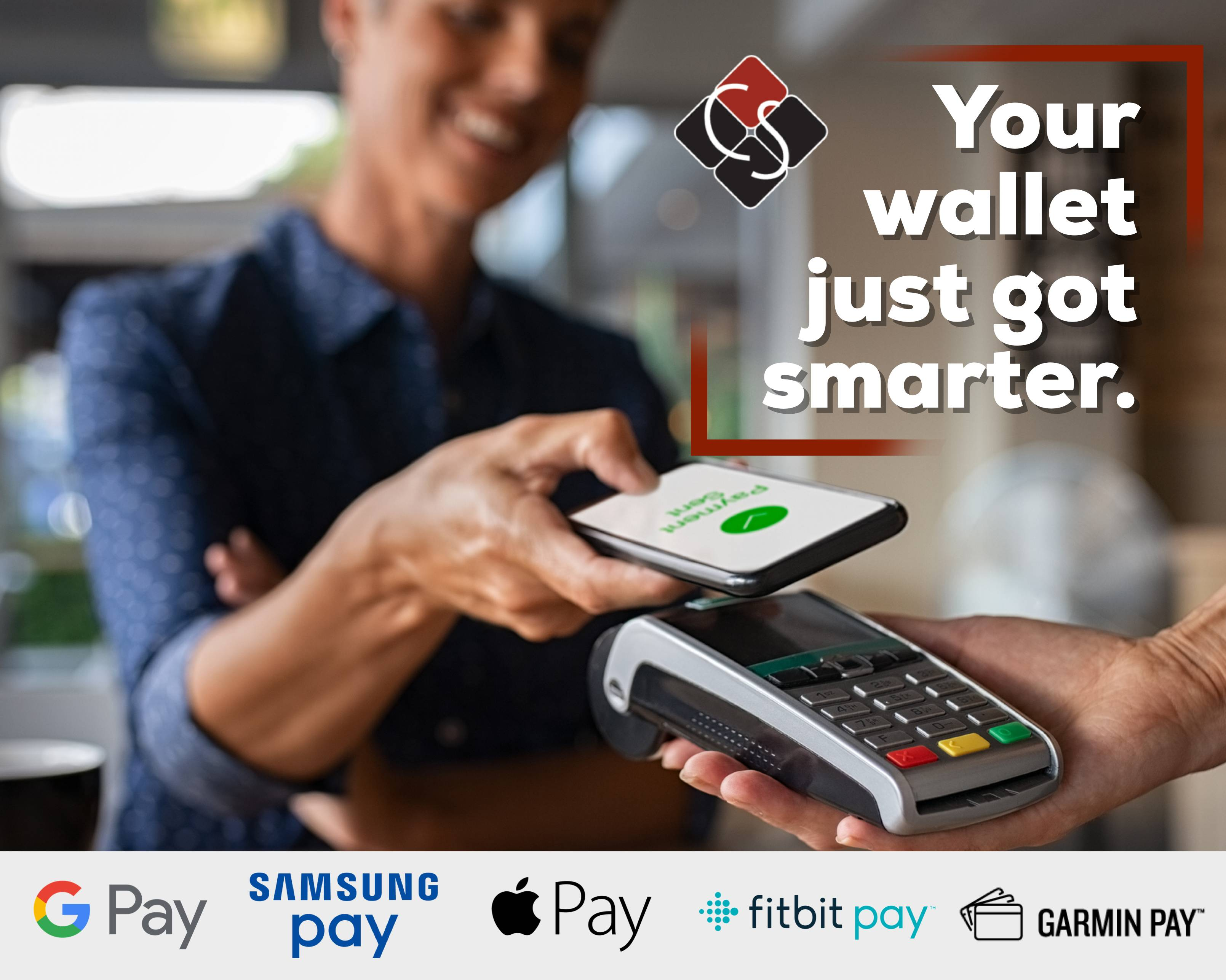 Your wallet just got smarter - woman paying for something with phone