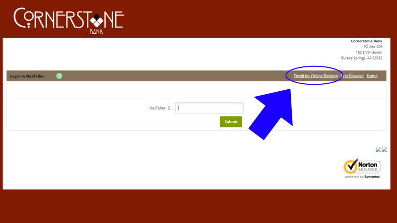 screen shot with arrow pointing where to enroll in online banking
